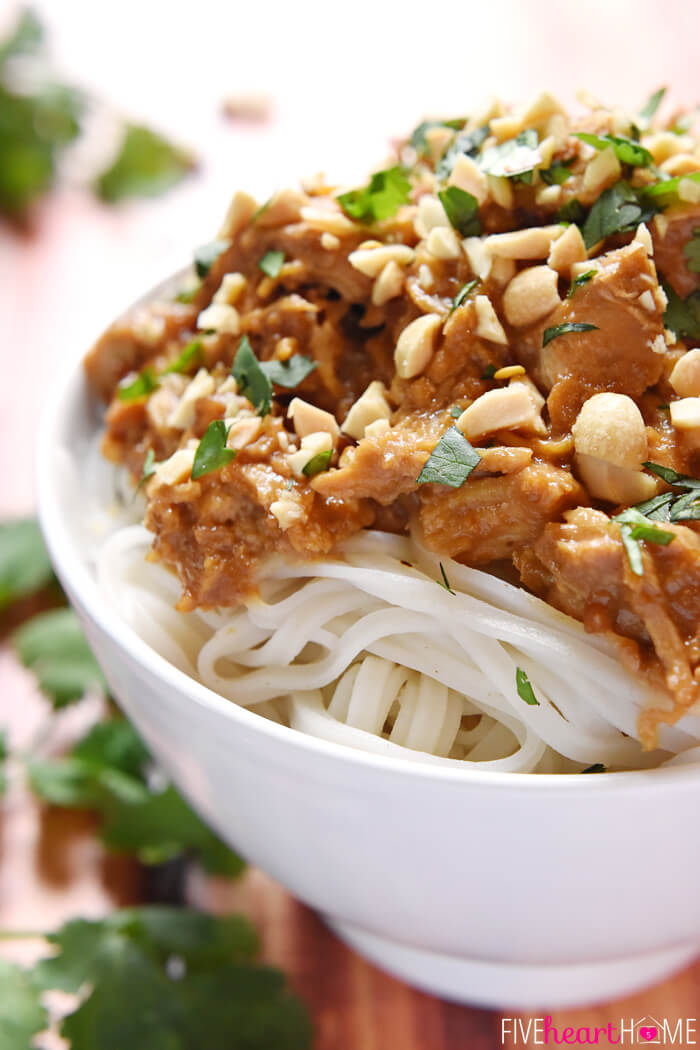 Slow Cooker Thai Chicken with Peanut Sauce from Five Heart Home