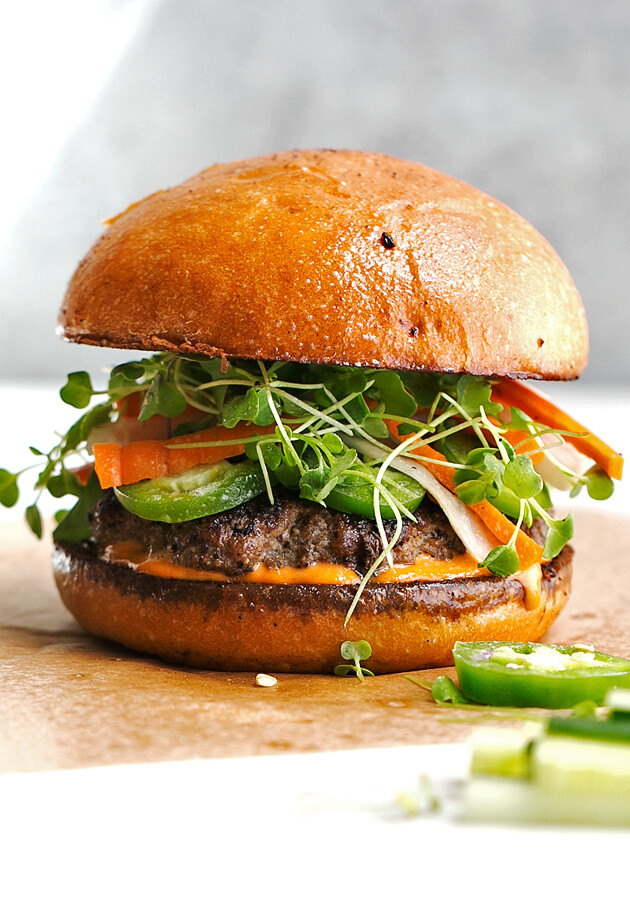Banh Mi Burgers with Spicy Sriracha Mayo from Little Spice Jar