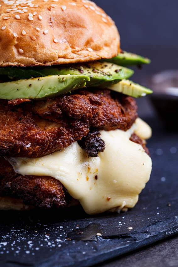 Crispy Chicken, Mozzarella and Avocado Burgers with Lemon Mayo from Simply Delicious