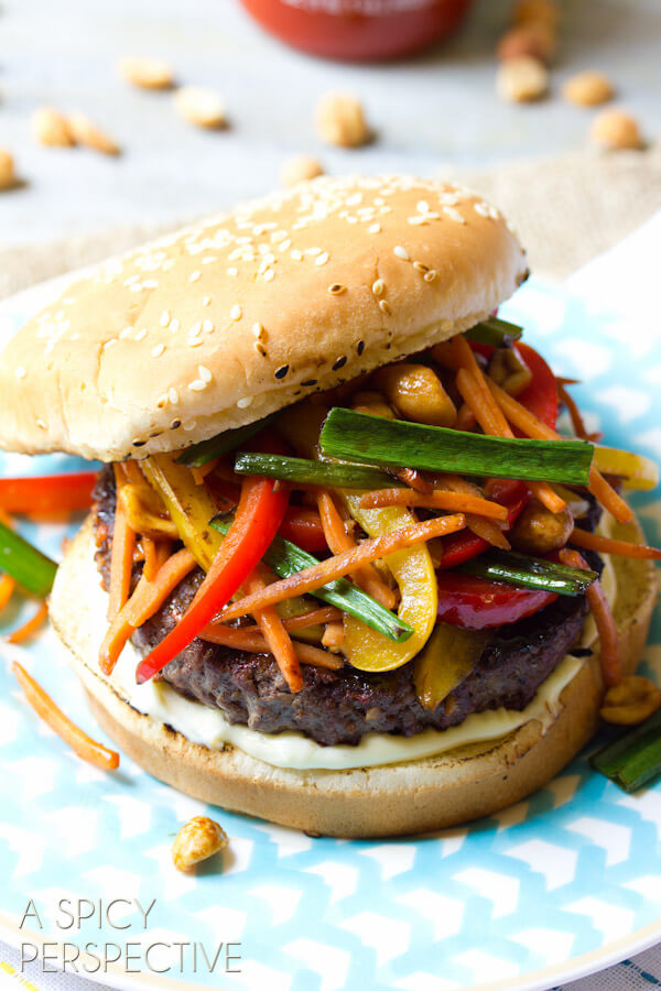 Szechuan Beef Burgers from A Spicy Perspective