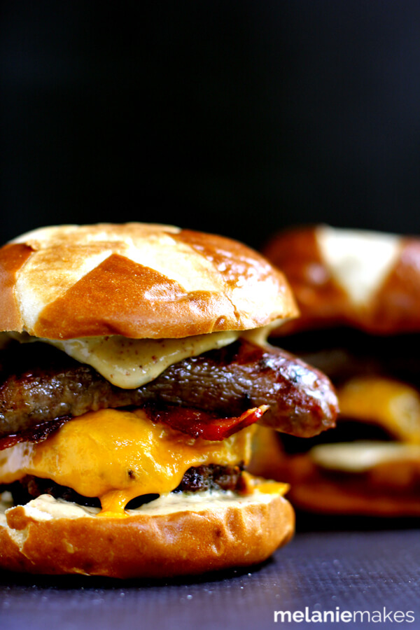 Sweet and Smoky Bacon Brat Burger from Melanie Makes