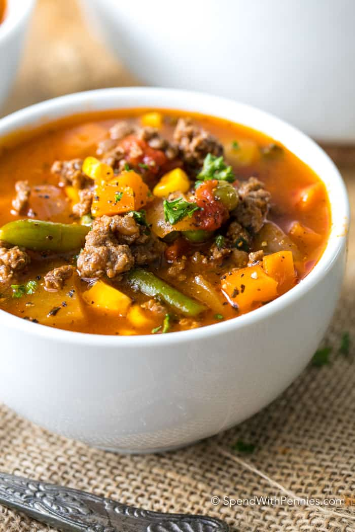 Easy Hamburger Soup from Spend with Pennies