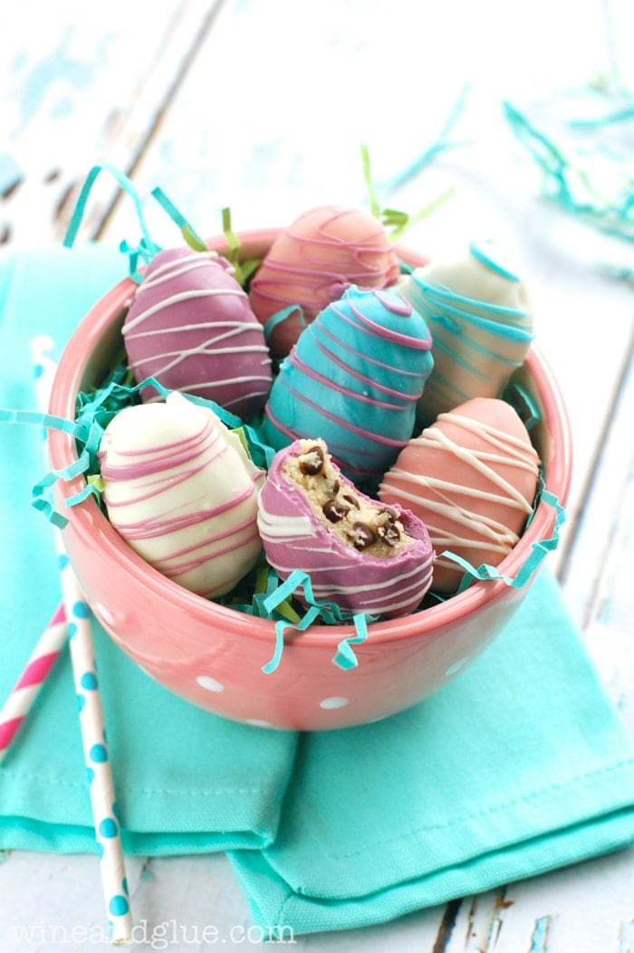 Easter Egg Cookie Dough Truffles from Wine and Glue