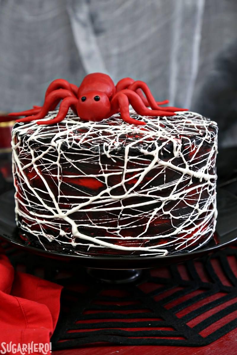 Red Velvet Marshmallow Spiderweb Cake from Sugar Hero!