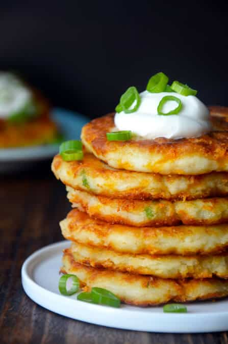 Cheesy Leftover Mashed Potato Pancakes from Just a Taste