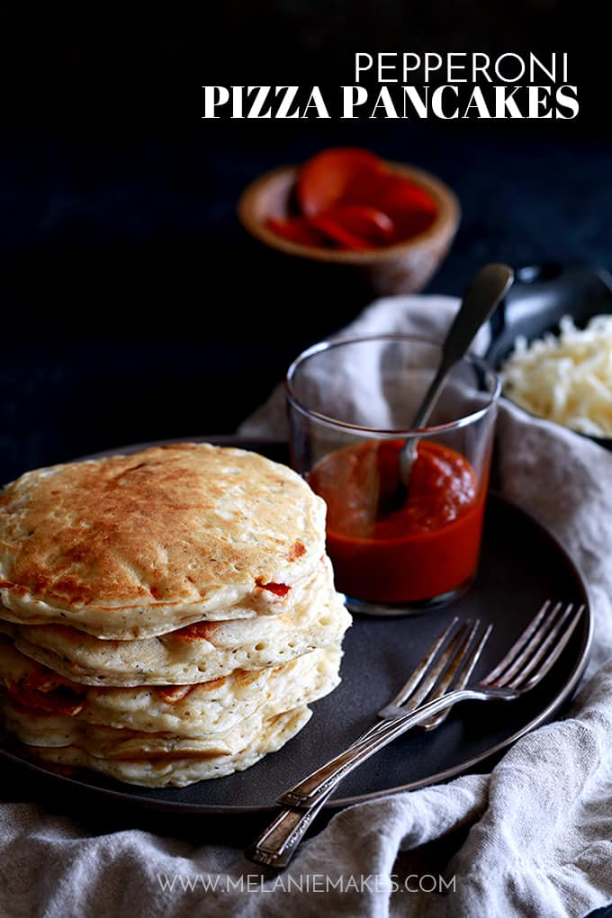 Pepperoni Pizza Pancakes from Melanie Makes