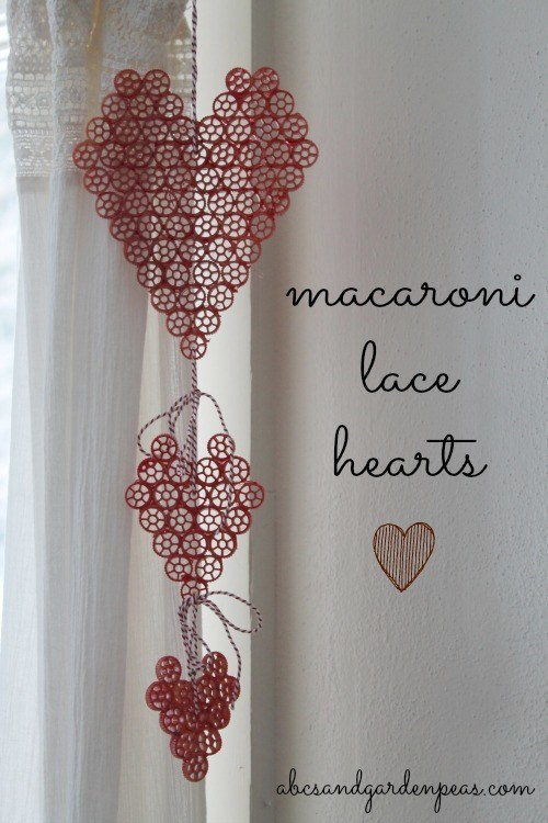 Macaroni Art Lace Hearts from ABCs & Garden Peas