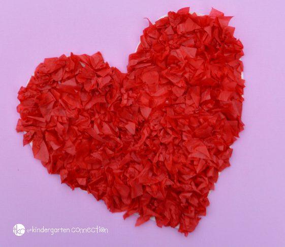 Tissue Paper Valentine Heart Craft from The Kindergarten Connection
