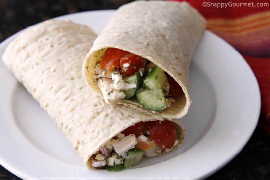 Easy Chicken Greek Salad Sandwich Wrap from Snappy Gourmet