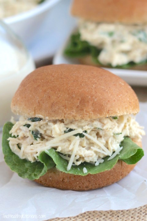 Crock-Pot Chicken Ceasar Sandwiches from Two Healthy Kitchens