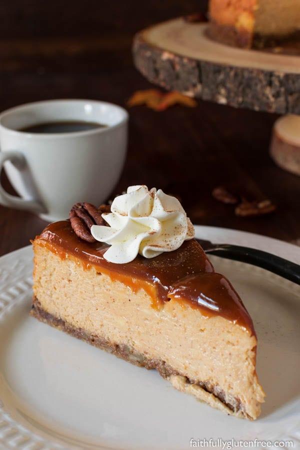 Gluten Free Pumpkin Cheesecake from Faithfully Gluten Free