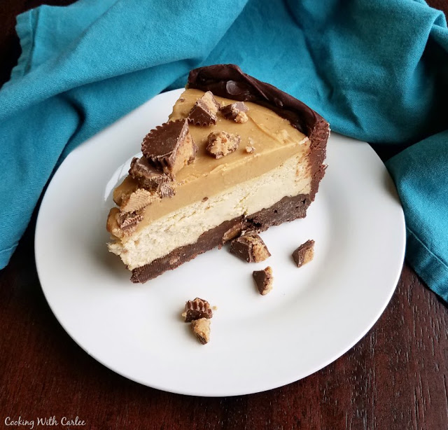 Buckeye Cheesecake with a Brownie Crust from Cooking with Carlee