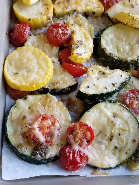 Parmesan Roasted Zucchini and Tomatoes from Cooking with Carlee