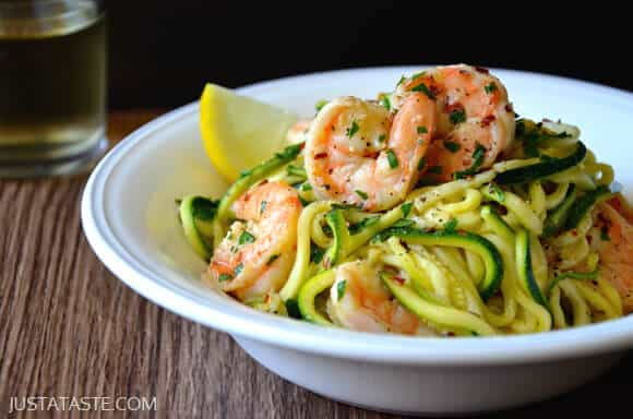 Skinny Shrimp Scampi with Zucchini Noodles from Just a Taste
