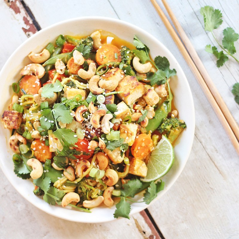 Carrot Cashew Zoodles with Crispy Sesame Tofu from Justine Celina