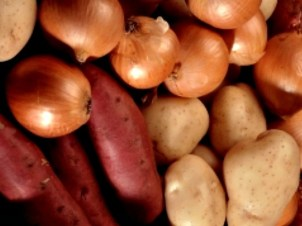 Hey don't store potatoes and onions in the same place. Potatoes give off moisture that will soften the onions