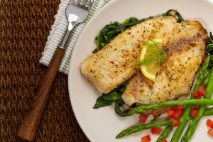 Fish fillet with green beans
