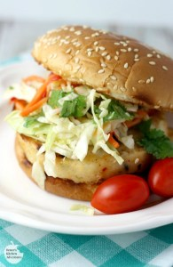 Alaskan Pollock Burger with Spicy Orange Ginger Slaw
