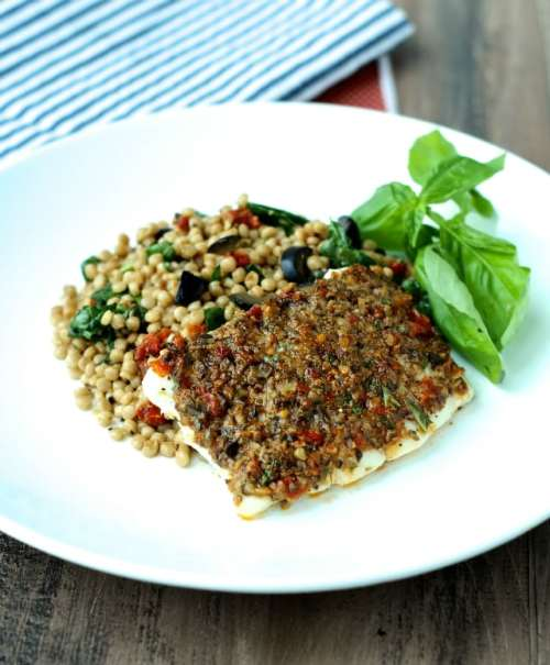 Olive and Sun-Dried Tomato-Crusted Fish