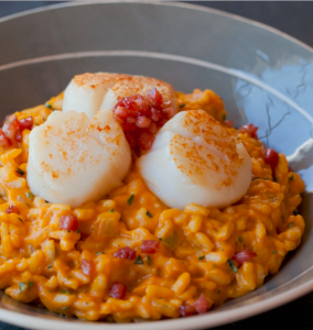 Pumpkin Risotto With Scallops