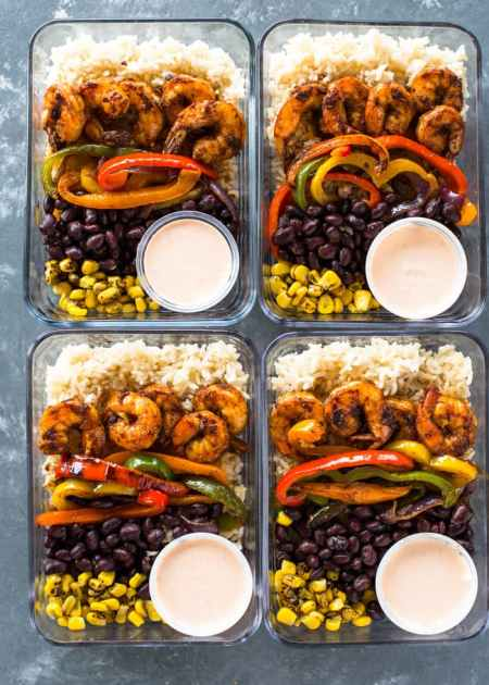 Seafood Restaurant Dishes - Shrimp burrito bowls