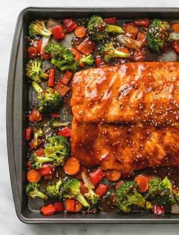 Teriyaki salmon and veggies