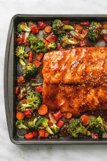 Spring Entertaining - Teriyaki salmon and veggies