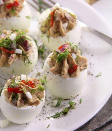 seafood breakfast - Tuna deviled eggs