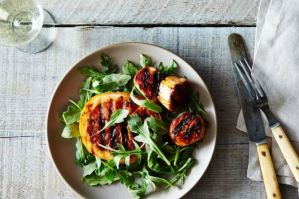Grilled scallop skewers