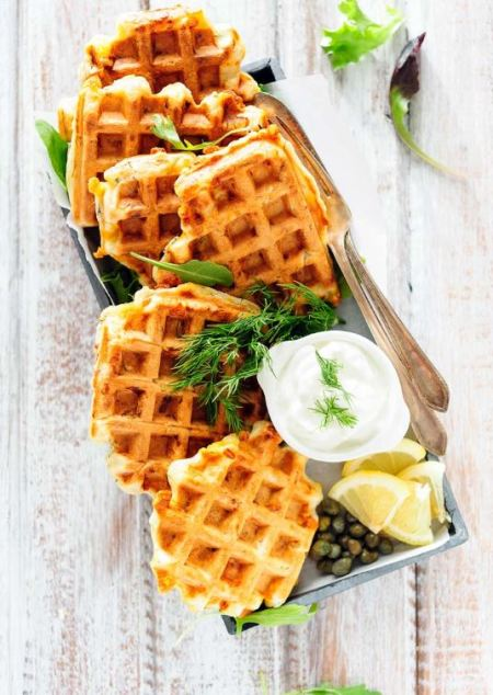 seafood breakfast - Dill waffles and salmon