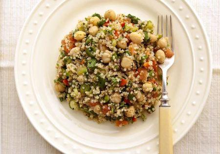 seafood meals and snacks - Tuna and quinoa on chick pea salad
