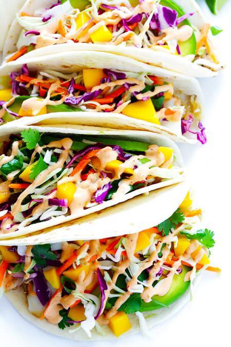seafood leftovers - Mango fish tacos