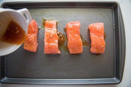 marinade- Salmon in a baking pan