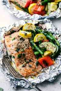 Salmon foil pack with veggies