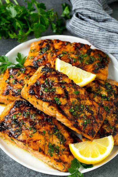 grilled seafood recipes- Salmon with Garlic and Herbs