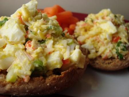 Open Faced Surimi Egg Salad Sandwich