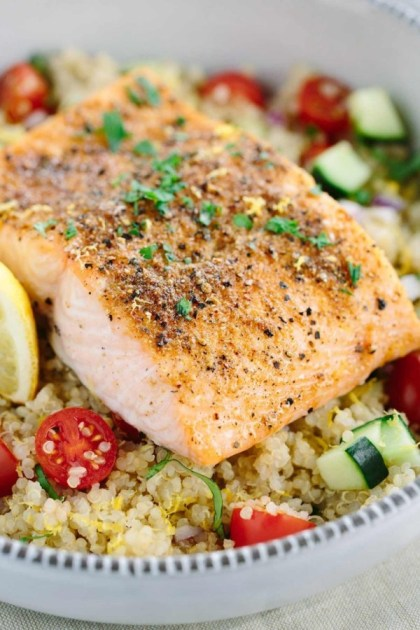 seafood and whole grains