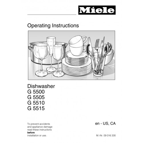 Miele G 5500 SCi Dishwasher View Pdf and Manual