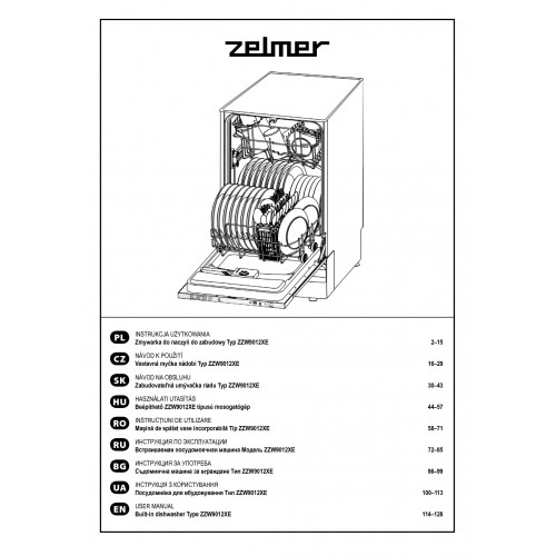 Zelmer ZZW 9012 XE Dishwasher View Pdf and Manual