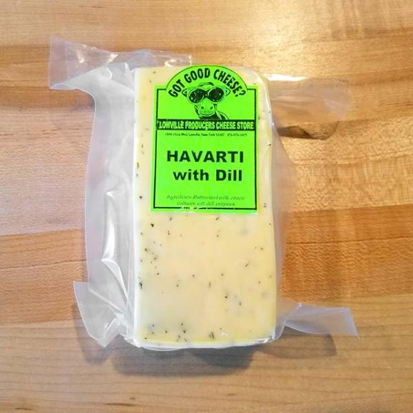 A brick of Havarti with Dill cheese.