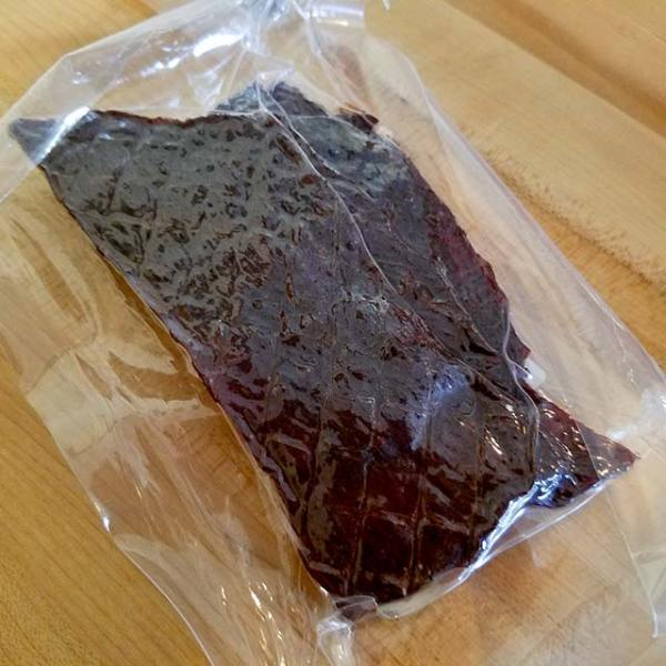 A package of Lawrence Family Farms Beef Jerky.