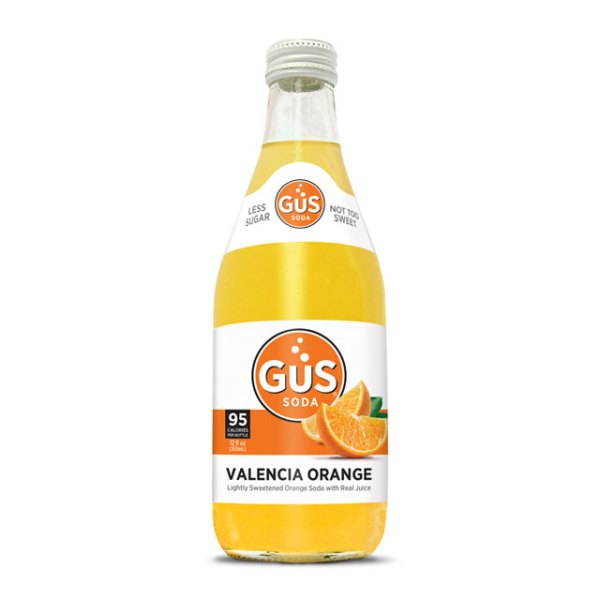 A bottle of GuS Valencia Orange soda.