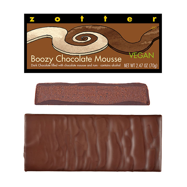 Zotter Boozy Chocolate Mousse Hand-Scooped Chocolate Bar