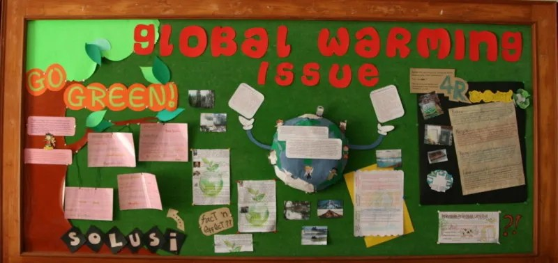 gambar mading kreatif global warming