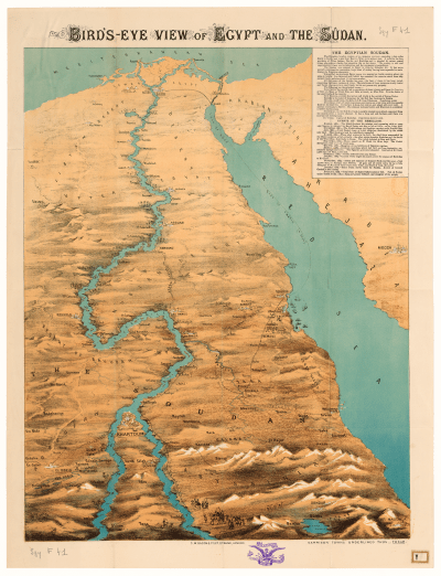 George W. Bacon, Bird's-eye View of Egypt and the Sûdan, scale not given, London, 1884. Size of the original: 63 x 49 cm. Photograph courtesy of the Société de Géographie (BNF, Cartes et Plans SGY F-41).