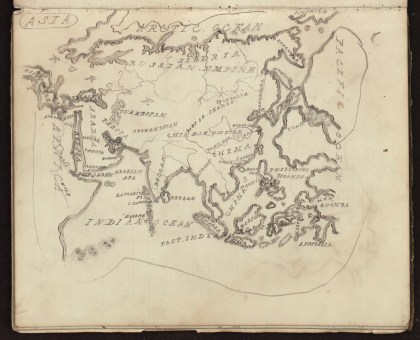 James T. Francombe, Hand drawn map of Asia, scale not given, from J.T. Francombe's notebook, 1859. Photograph courtesy of the Bristol Record Office (40477/F/2).