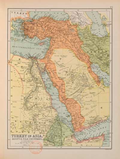 John G. Bartholomew, Detail of a Map of Turkey in Asia, in John G. Bartholomew, The Popular Atlas of the World (Edinburgh: T. Nelson, 1891), map n° 27. Photograph courtesy of the BNF (Cartes et Plans GE DD- 402).