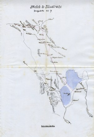 "Percy Molesworth Sykes, Sketch Map of Khorasan. GB165–0276, Percy Sykes Collection, box 2, file ""Foundation of the Sistan Consulate; Despatches to Lord Salisbury 1899–1900."" MEC Archive, St. Antony's College, Oxford."