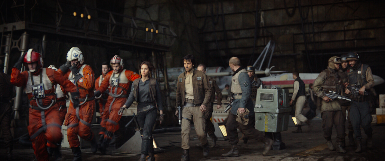 screenshot from Rogue One A Star Wars Story. A group of rebels preparing for battle