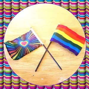 Two Pride flags purchased by the author's child